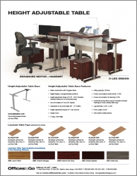 Height Adjustable Tables | Cut Sheet